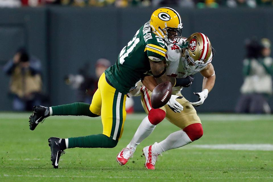 Green Bay Packers free safety Ha Ha Clinton-Dix (21) tackles San Francisco 49ers running back Kyle Juszczyk (44) as Juszczyk fumbles during the first half of an NFL football game Monday, Oct. 15, 2018, in Green Bay, Wis. The Packers recovered the ball. (AP Photo/Matt Ludtke)