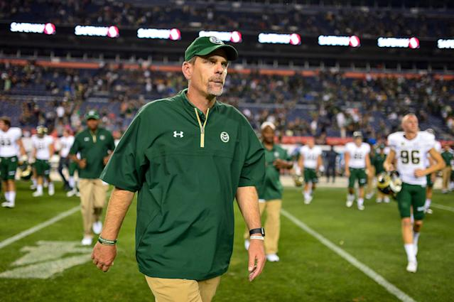Colorado State coach Mike Bobo is in the hospital receiving treatment for peripheral neuropathy after experiencing numbness in his feet last week. (Getty Images)
