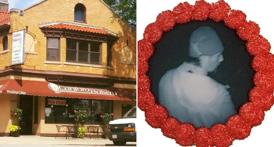 Canfora Bakery is pictured along with a cookie with a man's face printed on it.