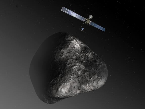 An artist's impression of the Rosetta orbiter deploying the Philae lander to comet 67P/Churyumov–Gerasimenko in August 2014.