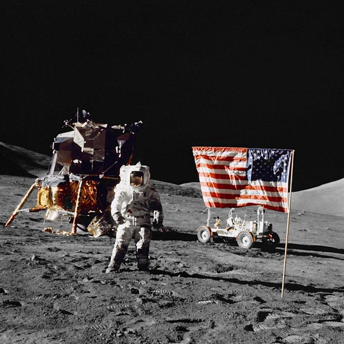 """<p>Starting with Apollo 11, every Apollo mission planted an Amercian flag at their landing spot. A source of pride, the hope is that they would be there forever or, at least, a very long time. Well, that doesn't seem to be quite true. Aldrin reported that he saw the famed Apollo 11 flag get knocked over by the rocket blast as the astronauts departed. In 2008, <a href=""""https://www.hq.nasa.gov/alsj/ApolloFlags-Condition.html"""" rel=""""nofollow noopener"""" target=""""_blank"""" data-ylk=""""slk:Tony Reichhardt of Air & Space Magazine"""" class=""""link rapid-noclick-resp"""">Tony Reichhardt of Air & Space Magazine</a> postulated that this probably means the flag has long since deteriorated. After all, it was purchased for $5.50. </p><p>In 2012, NASA reported that the other five flags <a href=""""https://sservi.nasa.gov/articles/apollo-moon-flags-still-standing/"""" rel=""""nofollow noopener"""" target=""""_blank"""" data-ylk=""""slk:are still standing"""" class=""""link rapid-noclick-resp"""">are still standing</a>... but are probably all badly faded due to the harsh ultraviolet light and sudden temperature changes on the lunar surface. In other words, they are all likely ragged, washed-out pieces of white cloth. So much for the stripes and stripes flying forever.</p>"""