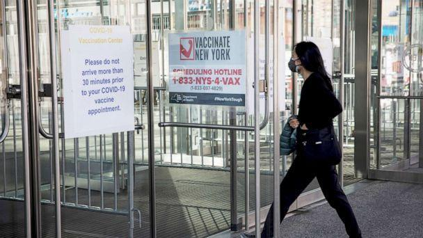 PHOTO: Signage directs visitors to the vaccination site at the Javits Center in New York, April 6, 2021. (Xinhua News Agency/Getty Images, FILE)