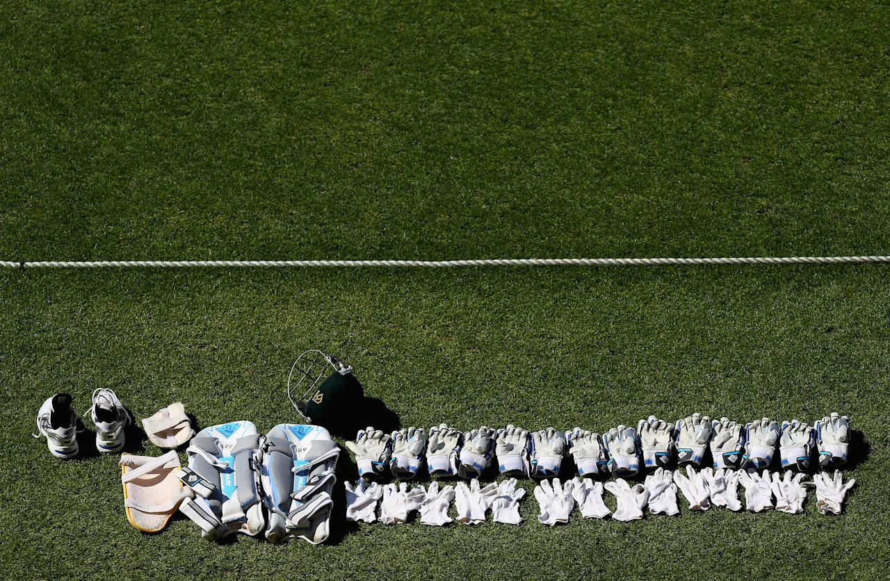BRISBANE, AUSTRALIA - NOVEMBER 13: The Cricket kit of Michael Clarke of Australia is seen dyring before the start of play on day five of the First Test match between Australia and South Africa at The Gabba on November 13, 2012 in Brisbane, Australia.  (Photo by Ryan Pierse/Getty Images)