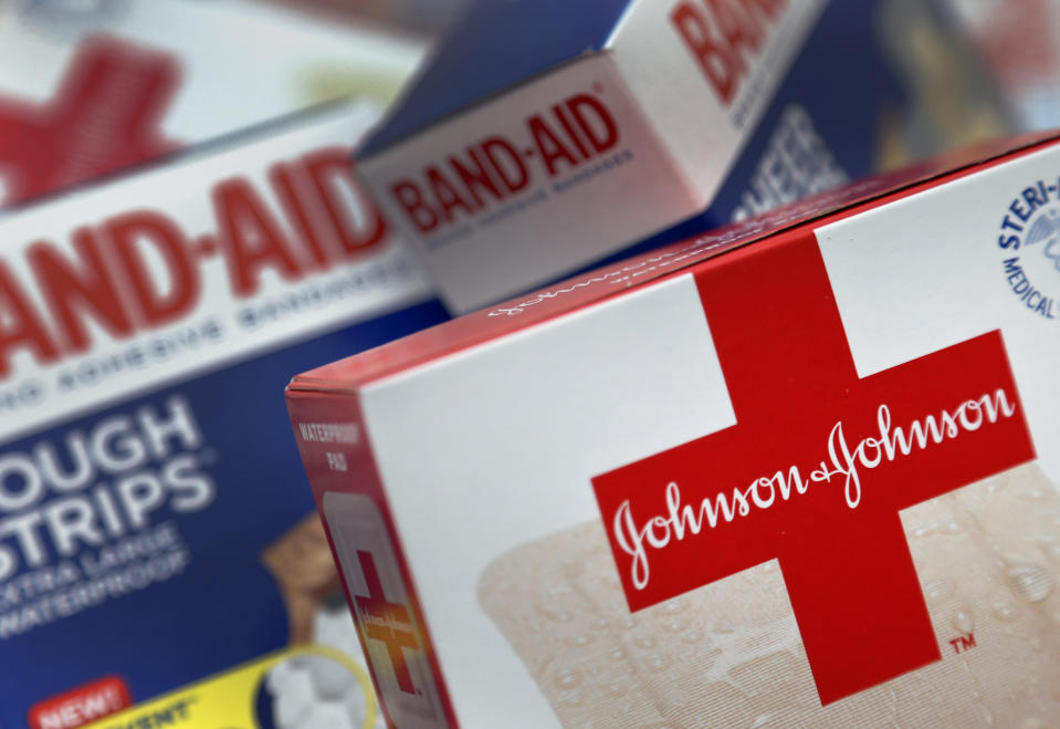 <p> This Oct. 16 2012 photo shows Johnson and Johnson products, including Band Aid brand adhesive bandages, arranged for a photo in St. Petersburg, Fla. Johnson & Johnson reports quarterly financial results before the market opens on Tuesday, April 15, 2014. (AP Photo/Chris O'Meara) </p>