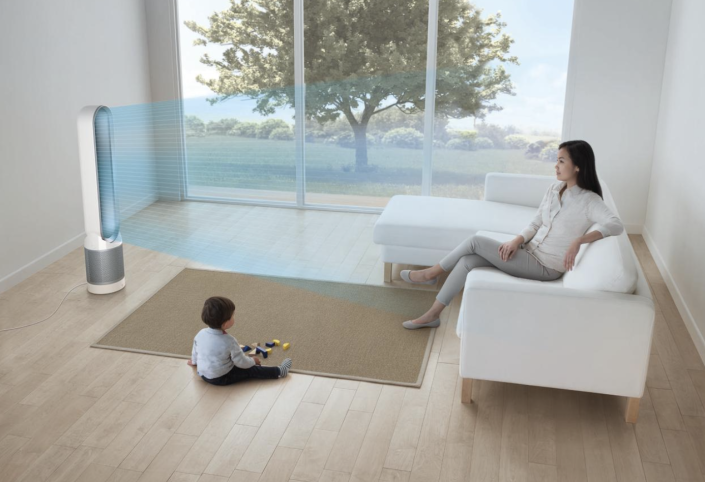 Dyson's bladeless design makes this air purifier safe around kids—and decor snobs; it looks like a piece of art! (Photo: Walmart)