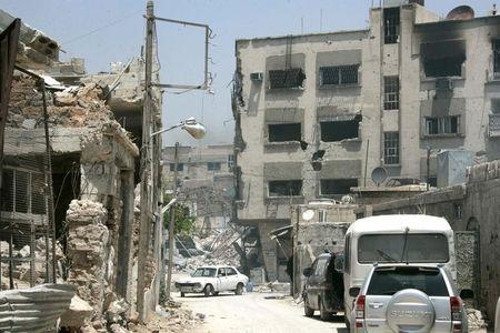 A view shows damaged buildings in Qaboun neighbourhood of Damascus