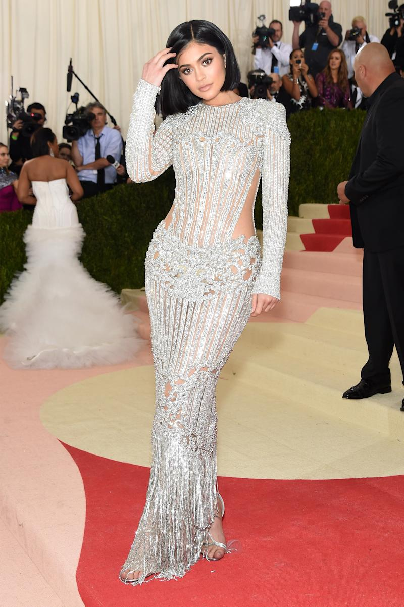 Jenner called on Olivier Rousteing to outfit her for last year's Met Gala, wearing custom Balmain to the Costume Institute gala for Manus x Machina in New York, New York, May 2016.