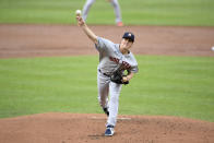 Houston Astros starting pitcher Zack Greinke delivers during the first inning of a baseball game against the Baltimore Orioles, Tuesday, June 22, 2021, in Baltimore. (AP Photo/Nick Wass)