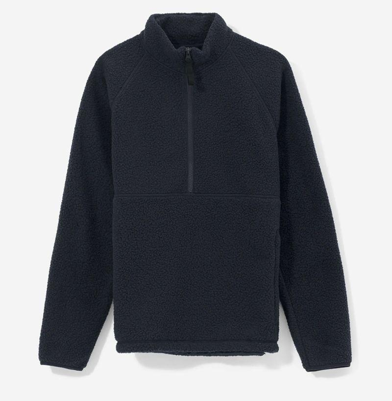 """<p><strong>Everlane</strong></p><p>everlane.com</p><p><strong>$70.00</strong></p><p><a href=""""https://go.redirectingat.com?id=74968X1596630&url=https%3A%2F%2Fwww.everlane.com%2Fproducts%2Fmens-renew-flc-half-zip-darknavy&sref=https%3A%2F%2Fwww.esquire.com%2Fstyle%2Fmens-fashion%2Fg35059367%2Fbest-mens-loungewear%2F"""" rel=""""nofollow noopener"""" target=""""_blank"""" data-ylk=""""slk:Buy"""" class=""""link rapid-noclick-resp"""">Buy</a></p>"""