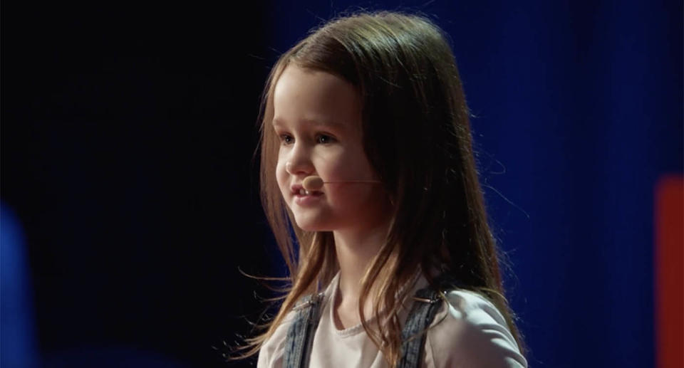 A screenshot of Molly Wright from her TED talk titled