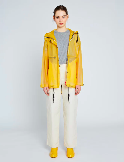 """<p><strong>Hunter</strong></p><p>hunterboots.com</p><p><strong>$175.00</strong></p><p><a href=""""https://go.redirectingat.com?id=74968X1596630&url=https%3A%2F%2Fwww.hunterboots.com%2Fus%2Fen_us%2Fwomens-jackets%2Fwomens-original-waterproof-vinyl-smock%2Fyellow%2F2348&sref=https%3A%2F%2Fwww.cosmopolitan.com%2Fstyle-beauty%2Ffashion%2Fg33523619%2Fbest-raincoats%2F"""" rel=""""nofollow noopener"""" target=""""_blank"""" data-ylk=""""slk:Shop Now"""" class=""""link rapid-noclick-resp"""">Shop Now</a></p><p>Here's another bright yellow style with a transparent twist and contrasting zippers. The vinyl material is completely waterproof and it's also roomy enough to wear thicker layers underneath when the temps drop. </p>"""