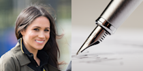 """<p>Before she was a <em>Suits </em>actress (or, hello, a member of the royal fam), Meghan Markle <a href=""""http://people.com/royals/meghan-markle-calligraphy-wedding-invitations/"""" rel=""""nofollow noopener"""" target=""""_blank"""" data-ylk=""""slk:was a professional calligrapher"""" class=""""link rapid-noclick-resp"""">was a professional calligrapher</a>. She worked at Paper Source for a while between 2004 and 2005, and did freelance jobs on the side—she actually addressed the invitations for Robin Thicke's wedding to Paula Patton. </p>"""