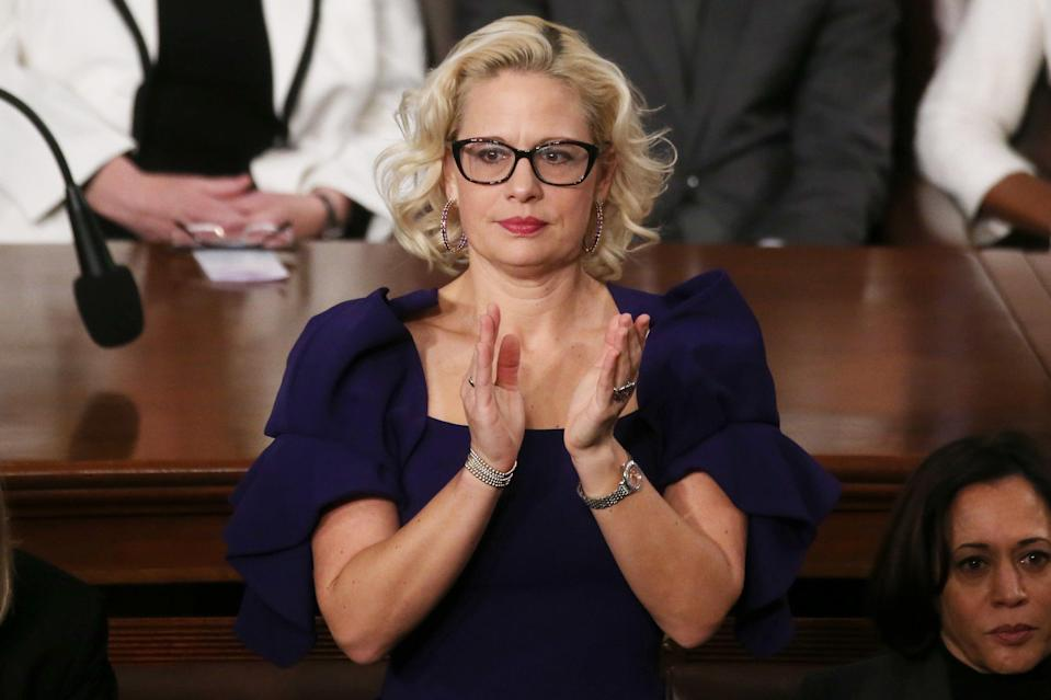Company behind Krysten Sinema's F*** Off ring announces proceeds will go to organisation fighting for increased minimum wage (Getty Images)