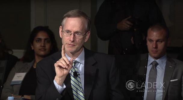 PHOTO: The Center for Health Security's director, Dr. Tom Inglesby, participates in the 'Clade X' exercise, May 15, 2018. (Center for Health Security via YouTube, FILE)