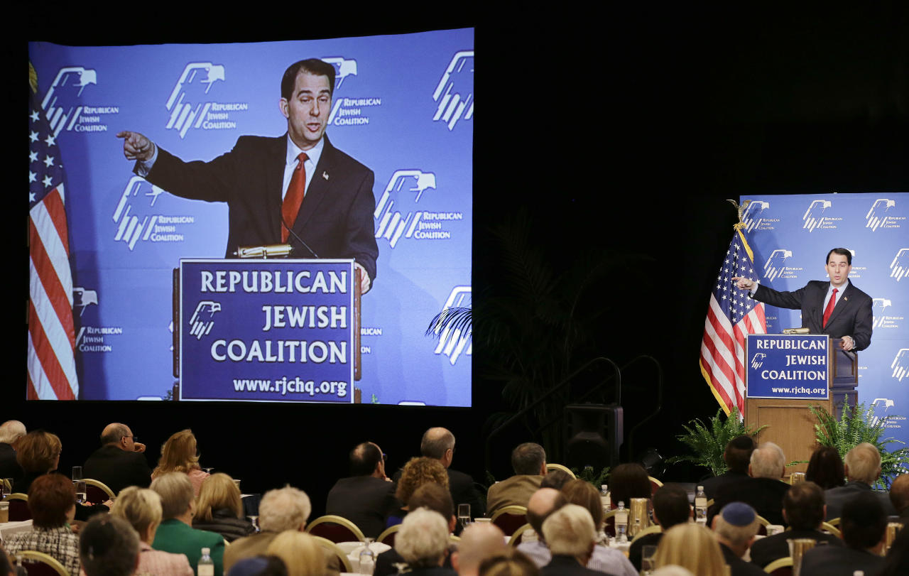 Wisconsin Gov. Scott Walker speaks at the Republican Jewish Coalition, Saturday, March 29, 2014, in Las Vegas. Several possible GOP presidential candidates gathered in Las Vegas as Sheldon Adelson, a billionaire casino magnate, looks for a new favorite to help on the 2016 race for the White House. (AP Photo/Julie Jacobson)