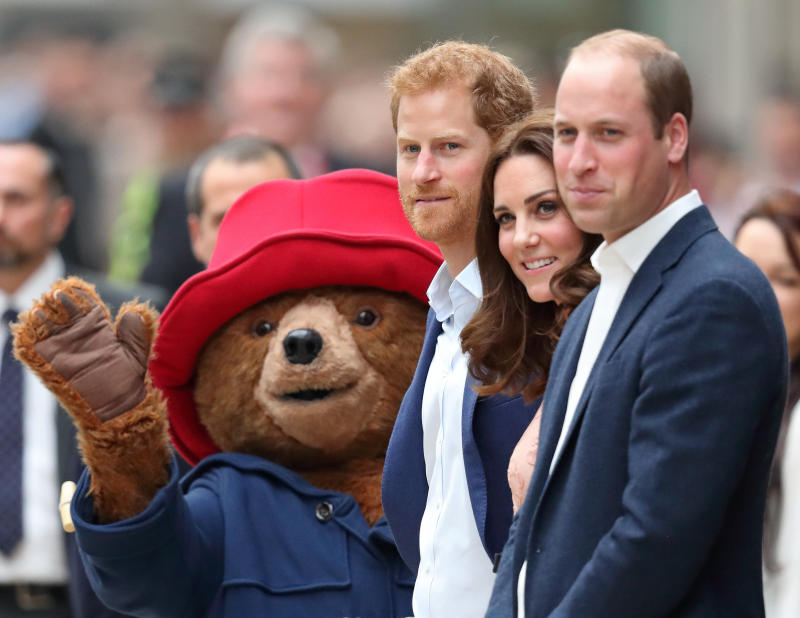 Paddington Bear with Prince Harry, Catherine, Duchess of Cambridge and Prince William, Duke of Cambridge.