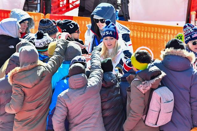 <p>USA's Lindsey Vonn speaks to the press after the Women's Super-G at the Jeongseon Alpine Center during the Pyeongchang 2018 Winter Olympic Games in Pyeongchang on February 17, 2018. </p>