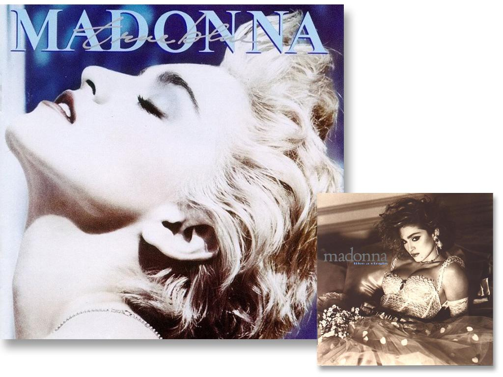 "Madonna's True Blue album cover, released in 1986, is much more tame than its predecessor, 1984's racy Like A Virgin. The artwork captures a subtle headshot of the superstar with a close-cropped hairdo, her eyes closed and light makeup. The songs from the album – ""Papa Don't Preach,"" ""Open Your Heart"" and ""La Isla Bonita"" – have been described as her most girlie. She returned to eccentric for her 1987 soundtrack, Who's That Girl."
