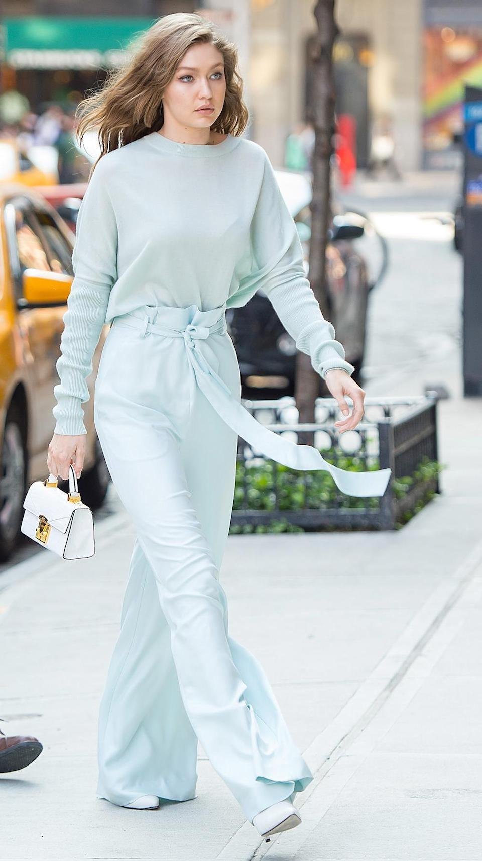 Hadid truly pulls off this head-to-toe powder blue outfit.