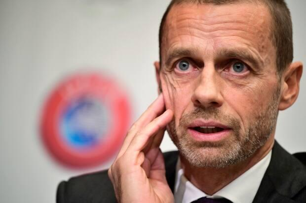 UEFA President Aleksander Ceferin gives a press conference of the Union of European Football Associations UEFA, on November 20, 2018 in Brussels.