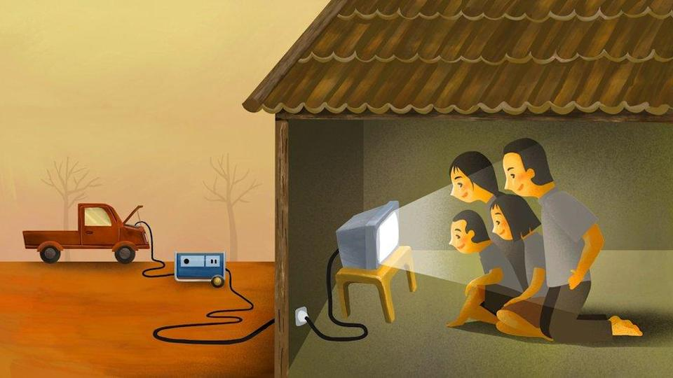 Illustration of family watching TV powered by a car battery