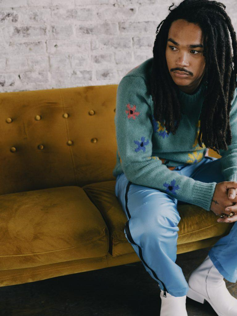 """Luka Sabbat in <a href=""""https://fave.co/3wGLhxh"""" rel=""""nofollow noopener"""" target=""""_blank"""" data-ylk=""""slk:The Elder Statesman crewneck sweater"""" class=""""link rapid-noclick-resp"""">The Elder Statesman crewneck sweater</a>, <a href=""""https://fave.co/2UMvmQL"""" rel=""""nofollow noopener"""" target=""""_blank"""" data-ylk=""""slk:Bottega Veneta pants"""" class=""""link rapid-noclick-resp"""">Bottega Veneta pants</a> and Sunni Sunni boots.<br>Photo by <a href=""""https://www.instagram.com/sheekswinsalways/?hl=en"""" rel=""""nofollow noopener"""" target=""""_blank"""" data-ylk=""""slk:Shaniqwa Jarvis"""" class=""""link rapid-noclick-resp"""">Shaniqwa Jarvis</a>"""