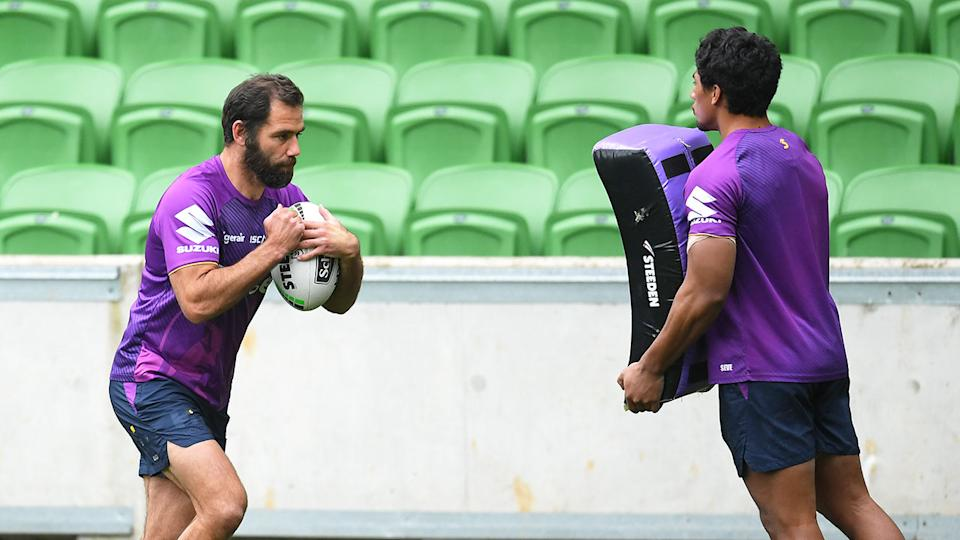 Pictured here, Melbourne Storm captain Cameron Smith trains at AAMI Park.