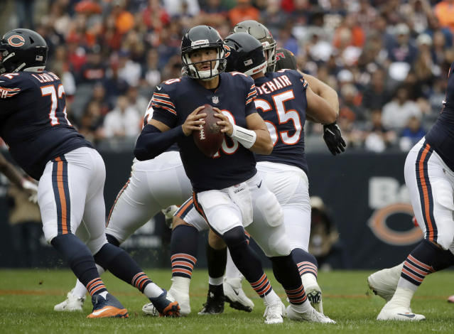 Chicago Bears quarterback Mitchell Trubisky (10) scrambles during the first half of an NFL football game against the Tampa Bay Buccaneers Sunday, Sept. 30, 2018, in Chicago. (AP Photo/Nam Y. Huh)
