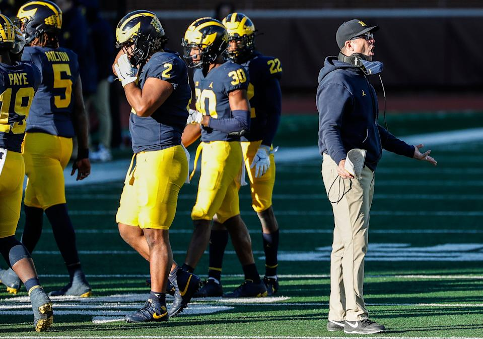 Michigan coach Jim Harbaugh reacts to a call during the second half of the 27-17 loss to Penn State at Michigan Stadium on Saturday, Nov. 28, 2020.