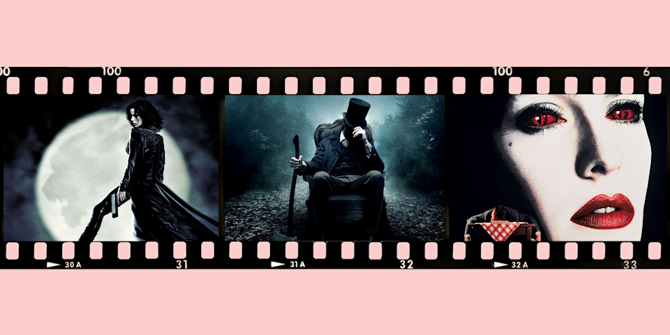 """<p>What do Brad Pitt, Saoirse Ronan, and Tom Cruise all have in common? Grab the garlic, because they've all played vampires! The myth of the undead vampire who drinks human blood has long captivated human imagination, and Hollywood is no exception. From the days of silent films up into our modern age, toothy vamps have terrorized our screens. Luckily, if you're in the mood for a great <a href=""""https://www.goodhousekeeping.com/life/entertainment/g28067867/best-horror-movies-on-netflix/"""" rel=""""nofollow noopener"""" target=""""_blank"""" data-ylk=""""slk:horror movie"""" class=""""link rapid-noclick-resp"""">horror movie</a> with Hollywood's scariest (and coolest) bloodsuckers, we've got you covered on the best vampire movies to sink your teeth into. </p><p>Not sure which flick to choose? Whether you're a classic Dracula fan or you'd rather watch Edward Cullen sparkle in the sun, these great vampire films have something for everyone — including romances, <a href=""""https://www.goodhousekeeping.com/life/parenting/g23363159/best-kids-movies/"""" rel=""""nofollow noopener"""" target=""""_blank"""" data-ylk=""""slk:kid-friendly movies"""" class=""""link rapid-noclick-resp"""">kid-friendly movies</a>, and even films so scary that they will even make horror buffs jump. Who knows? Maybe one of these vampires will inspire your next <a href=""""https://www.goodhousekeeping.com/holidays/halloween-ideas/g23653854/best-halloween-costumes-of-all-time/"""" rel=""""nofollow noopener"""" target=""""_blank"""" data-ylk=""""slk:Halloween costume"""" class=""""link rapid-noclick-resp"""">Halloween costume</a>, because some of these looks are surprisingly simple to recreate. And once you get tired of bloodsucker films, check out some of our favorite spellbinding <a href=""""https://www.goodhousekeeping.com/holidays/halloween-ideas/g21951058/witch-movies/"""" rel=""""nofollow noopener"""" target=""""_blank"""" data-ylk=""""slk:movies about witches"""" class=""""link rapid-noclick-resp"""">movies about witches</a>.</p>"""