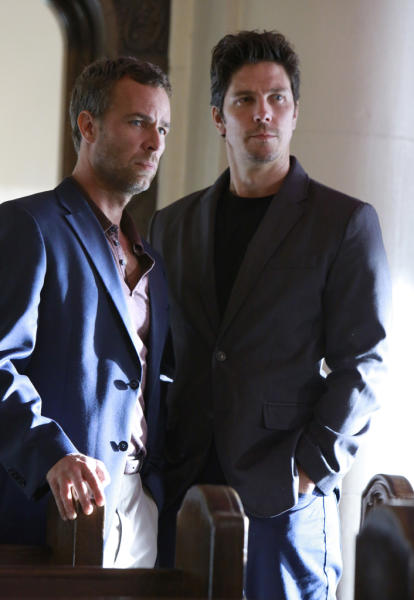"JR Bourne and Michael Trucco in ""Revelations,"" the ninth episode of ""Revenge"" Season 2."