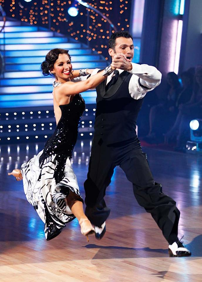 "Melissa Rycroft and Tony Dovolani perform the Quickstep to ""I Got Rhythm"" by Judy Garland on ""Dancing with the Stars."""