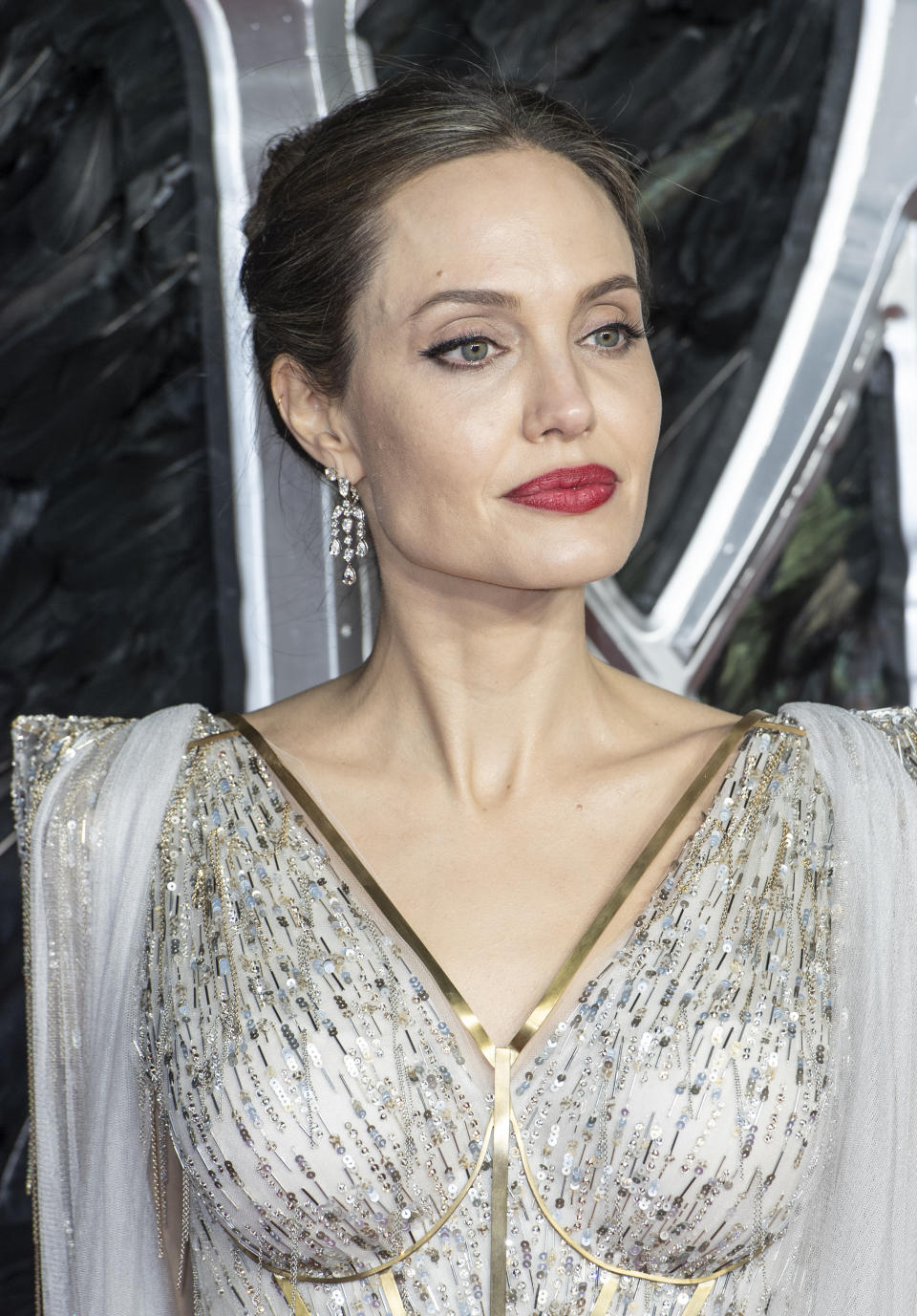 Angelina Jolie attends the �Maleficent: Mistress of Evil� European Premiere at the BFI Imax, Waterloo. (Photo by Gary Mitchell / SOPA Images/Sipa USA)