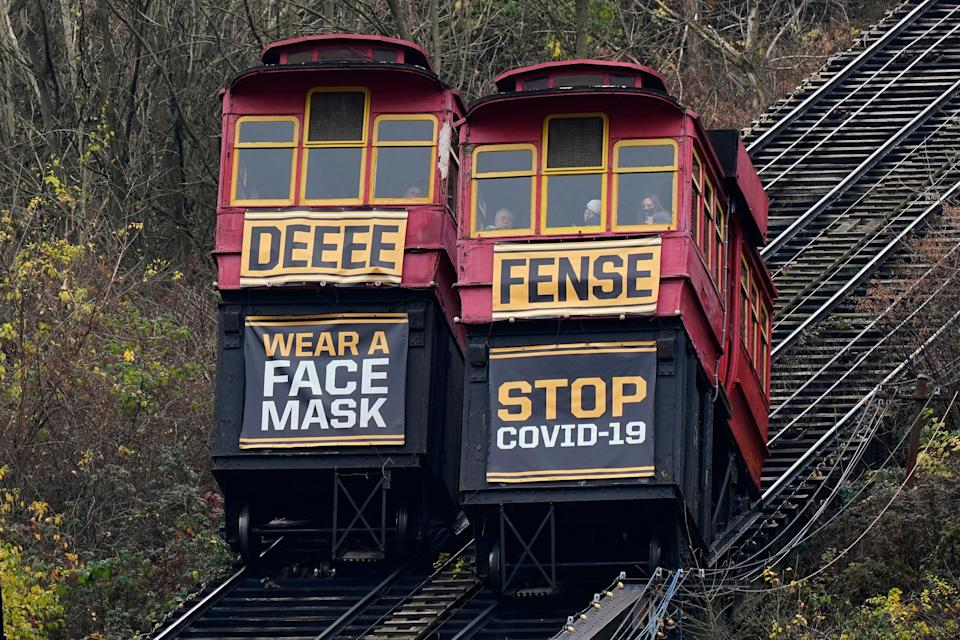 The cars on the Duquesne Incline pass each other carrying signs encouraging face mask wearing on Nov. 22, 2020 in downtown Pittsburgh.