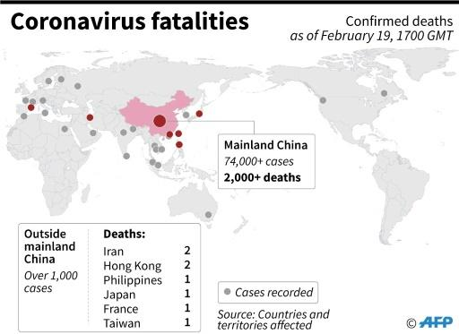 Map showing cases recorded and fatalities related to the coronavirus in China and overseas