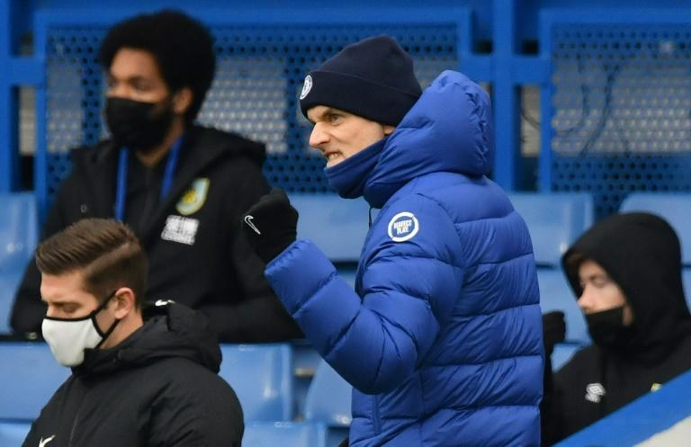Thomas Tuchel celebrates after Marcos Alonso scored Chelsea's second goal in a 2-0 win against Burnley at Stamford Bridge