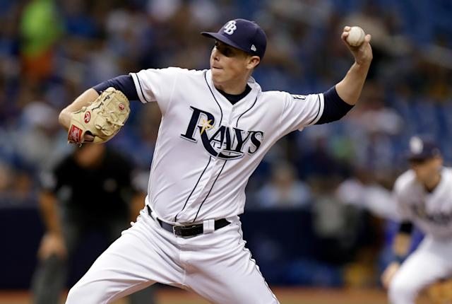 Tampa Bay Rays pitcher Ryan Yarbrough delivers to the Kansas City Royals during the third inning of a baseball game Monday, Aug. 20, 2018, in St. Petersburg, Fla. (AP Photo/Chris O'Meara)