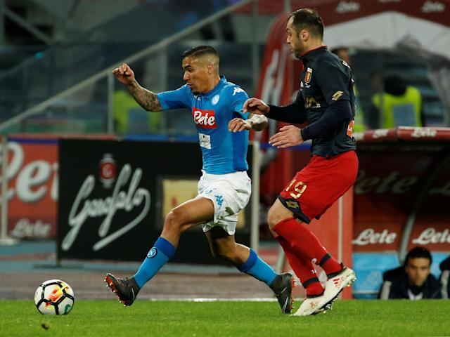 Soccer Football - Serie A - Napoli vs Genoa - Stadio San Paolo, Naples, Italy - March 18, 2018 Napoli's Allan in action with Genoa's Goran Pandev REUTERS/Ciro De Luca