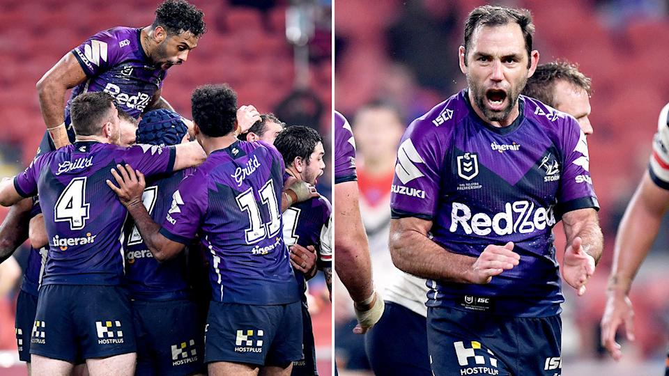 Pictured here, the Melbourne Storm celebrate their incredible golden point win over the Roosters.