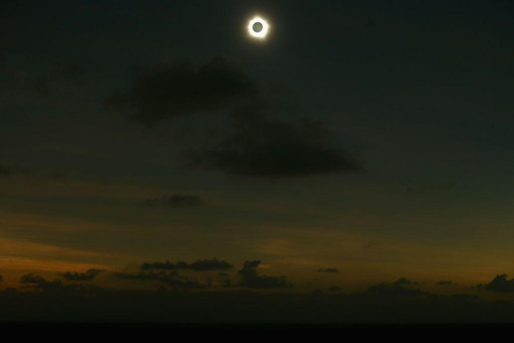 Totality is seen during the solar eclipse at Vlassof Cay in Palm Cove, Australia on November 14, 2012 in Cairns, Australia.