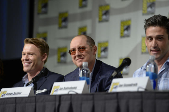 "Diego Klattenhoff, James Spader, and Jon Bokenkamp at the ""Blacklist"" Panel at the 2013 San Diego Comic-Con on July 19, 2013 in San Diego, California."