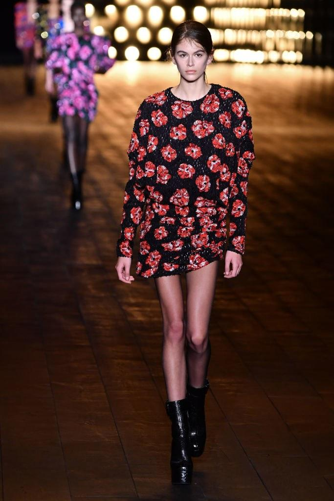Kaia Gerber walks the runway during the Saint Laurent Fall 2018 show as part of Paris Fashion Week on February 27, 2018 in Paris, France. Photo courtesy Getty Images.