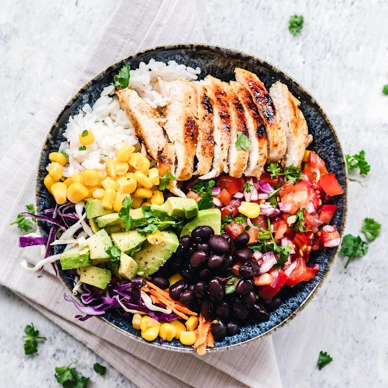 Chicken, rice, and vegetables