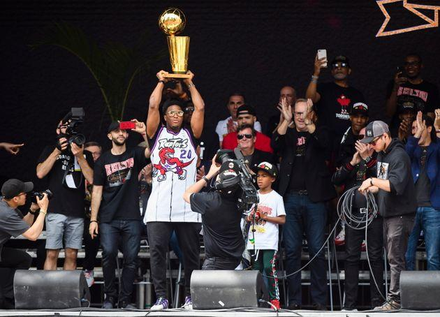 Kyle Lowry on stage during the Raptors Parade.