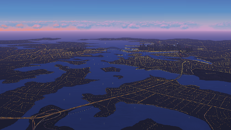 Pictured is Sydney Harbour from above at nighttime. Drawn on MS Paint.