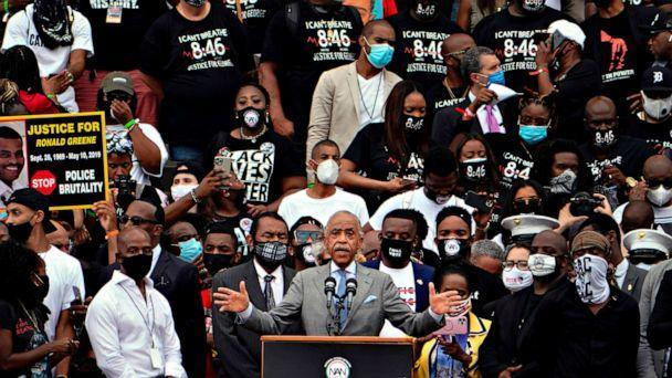 PHOTO: Rev. Al Sharpton, founder and president of National Action Network, speaks at the Lincoln Memorial during the 'Commitment March: Get Your Knee Off Our Necks' protest against racism and police brutality, on Aug. 28, 2020, in Washington. (Jacquelyn Martin/POOL/AFP via Getty Images)