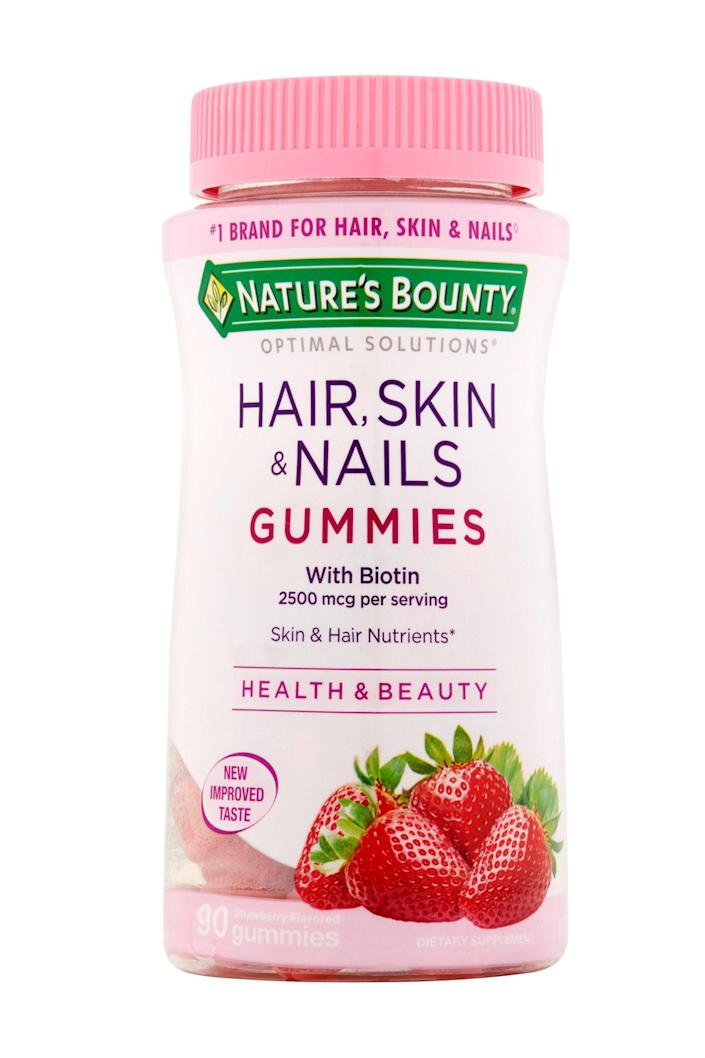 """<p><strong>Hair Vitamins</strong></p><p>walmart.com</p><p><strong>$26.95</strong></p><p><a href=""""https://go.redirectingat.com?id=74968X1596630&url=https%3A%2F%2Fwww.walmart.com%2Fip%2F162411455&sref=https%3A%2F%2Fwww.elle.com%2Fbeauty%2Fg31099887%2Fbest-hair-growth-vitamins%2F"""" rel=""""nofollow noopener"""" target=""""_blank"""" data-ylk=""""slk:Shop Now"""" class=""""link rapid-noclick-resp"""">Shop Now</a></p><p>These delicious strawberry gummies taste just like candy and use no artificial sweeteners or flavors. Biotin and vitamins C and E help promote lustrous hair growth and support healthy skin and nails. But perhaps the best part is that the budget-friendly cost won't break the bank on your journey to Rapunzel waves. </p>"""