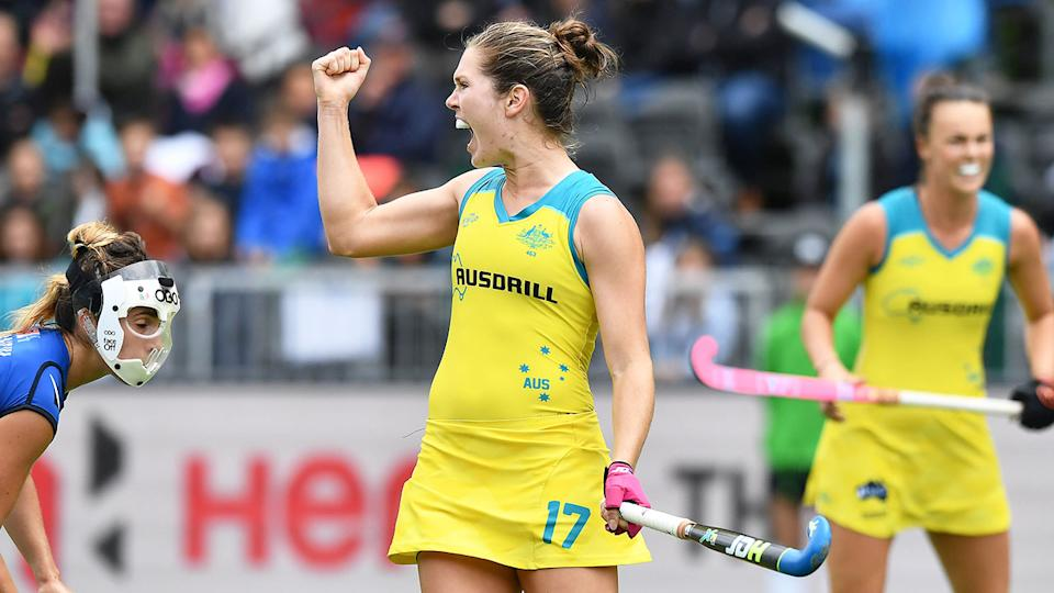 Pictured here, Georgina Morgan celebrates during a match for the Hockeyroos.
