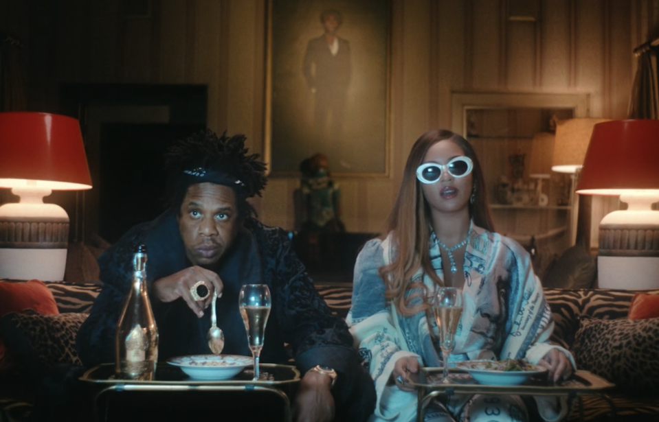 "<p>Beyoncé's husband, Jay-Z, shows up to eat a TV dinner in ""Mood 4 Eva.""</p>"