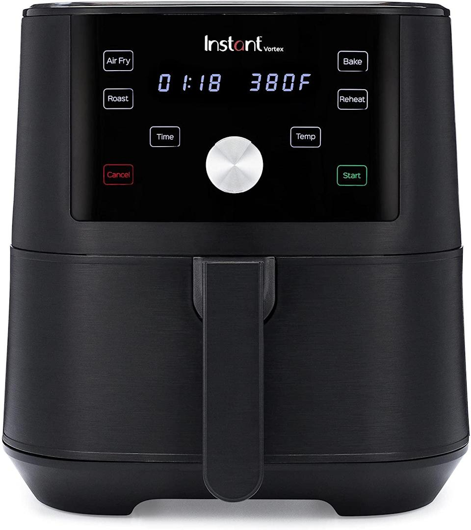 <p>If you haven't jumped on the air-fryer train, now is your chance with the <span>Instant Vortex 4-in-1 Basket Air Fryer </span> ($70, originally $100). It has a digital touchscreen and customizable smart cooking programs, and it's super easy to maintain and clean. It can air fry, broil, roast, dehydrate, bake, and reheat. It's a kitchen tool that you'll use so often, your microwave might shed a tear.</p>